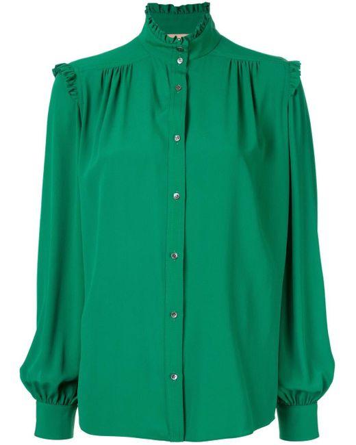 N°21 フリルトリム シャツ Green