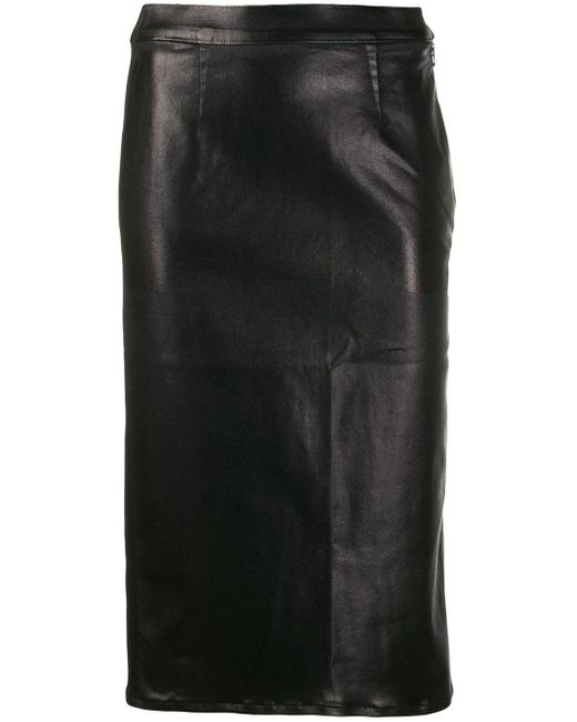 J Brand フェイクレザーミディスカート Black