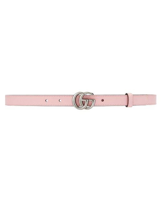 Gucci グッチ公式スリムベルト(ダブルg バックル)パステルピンク レザーcolor_descriptionメタルフリーレザー Pink