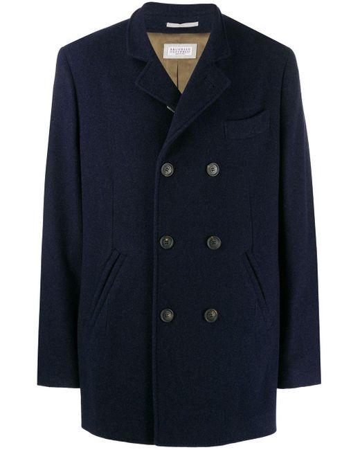 メンズ Brunello Cucinelli カシミア コート Blue