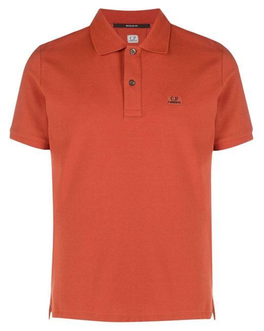 Polo con applicazione di C P Company in Orange da Uomo