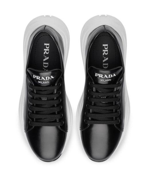 Prada Black Sneakers aus gebürstetem Leder