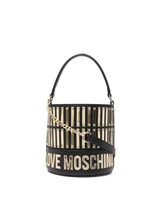 Love Moschino レザー バケットバッグ Black