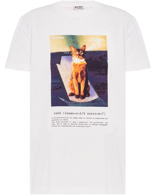 T-shirt con stampa The Cat from Outer Space di Miu Miu in White