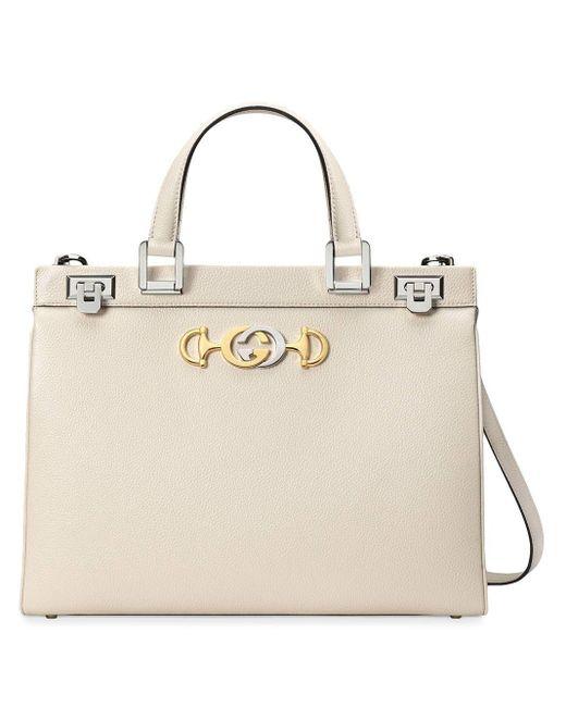 Gucci 【公式】 (グッチ)〔グッチ ズゥミ〕スモール トップハンドルバッグホワイト グレインレザーホワイト White