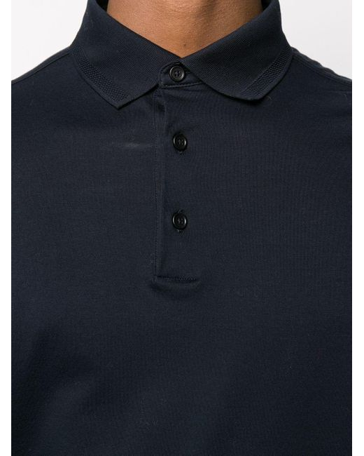 Polo à manches longues en maille fine Ermenegildo Zegna pour homme en coloris Blue