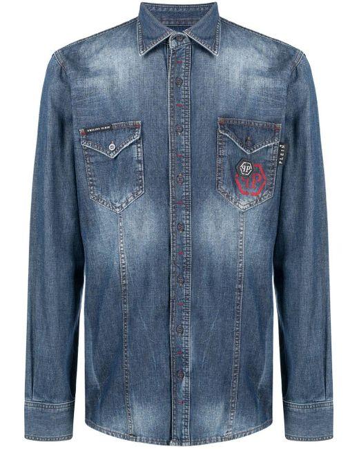Рубашка С Эффектом Потертости Philipp Plein для него, цвет: Blue