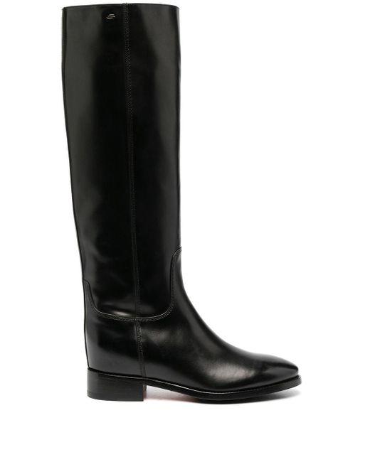 Santoni Black Knee-length Leather Boots