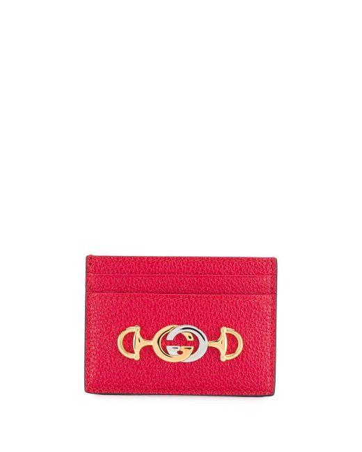 Gucci Zumi レザー カードホルダー Red