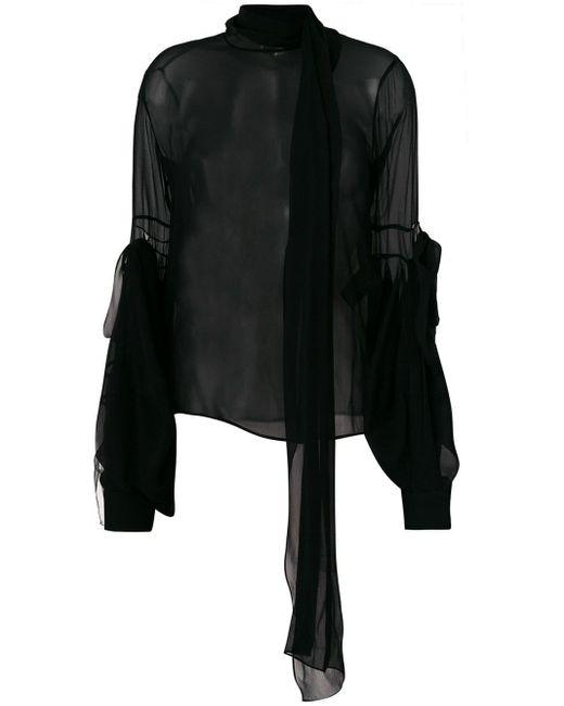 Saint Laurent Black Sheer Bell-sleeve Blouse