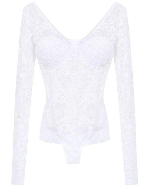 Lace Long Sleeved Swimsuit Amir Slama, цвет: White