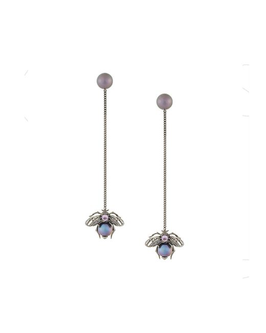 Axenoff Jewellery - Black Drop Bee Earrings - Lyst