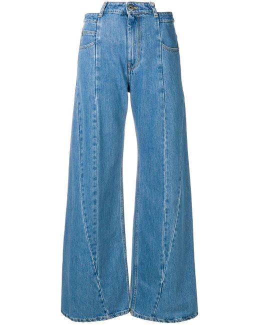 Maison Margiela Blue Panelled Wide Leg Jeans