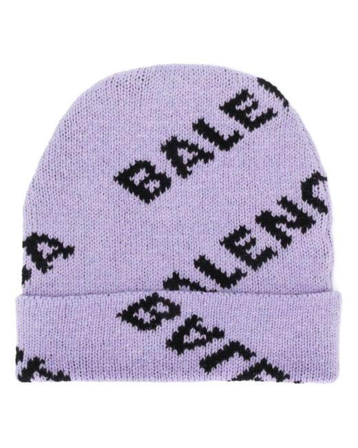 Balenciaga ロゴ ビーニー Purple