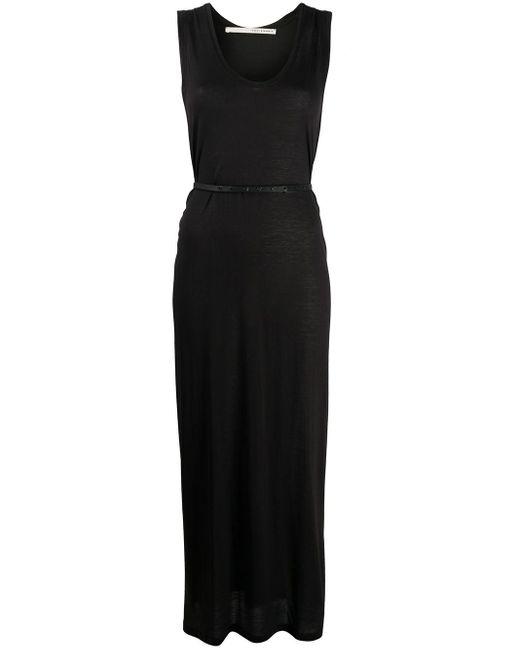 Isabel Benenato Vestido largo con cinturón de mujer de color negro