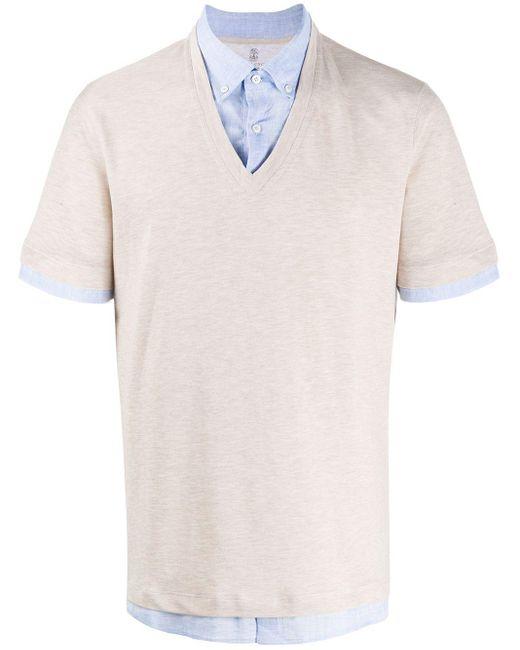 メンズ Brunello Cucinelli レイヤード ポロシャツ Multicolor