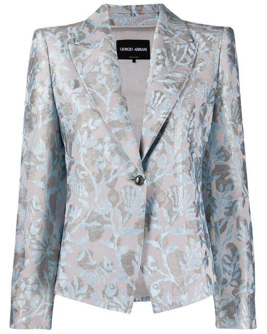 Giorgio Armani フローラル シングルジャケット Blue