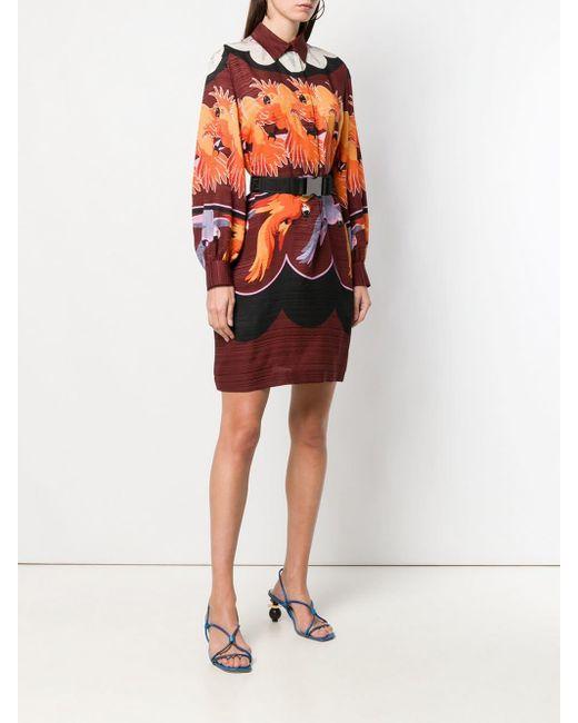 Robe-chemise imprimée Fendi en coloris Red