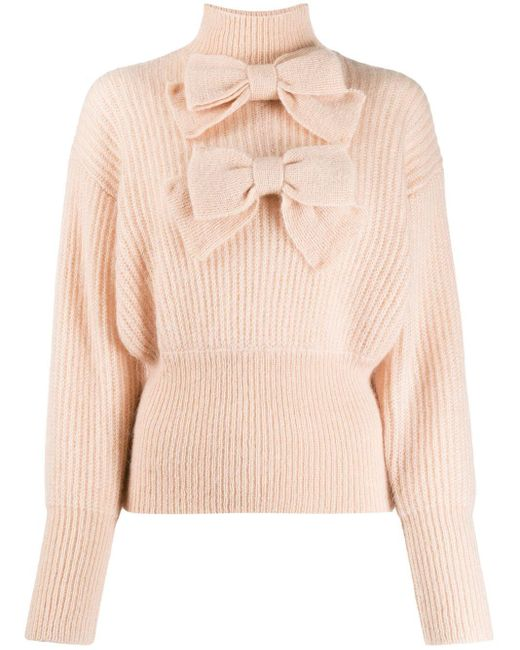 Zimmermann Pink Bow Embroidered Knit Jumper