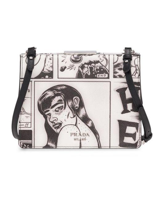 f3a2492ad14581 ... Prada - Gray Comic Print Shoulder Bag - Lyst