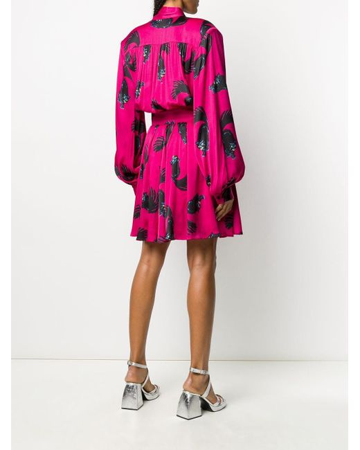 Расклешенное Платье Мини С Принтом MSGM, цвет: Pink