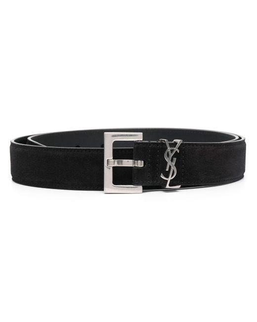 メンズ Saint Laurent ロゴプレート ベルト Black
