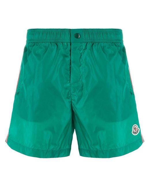 Moncler Green Logo-patch Swim Shorts for men