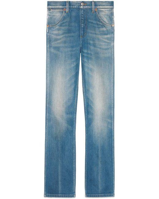 Gucci Blue Denim Straight Leg Pant