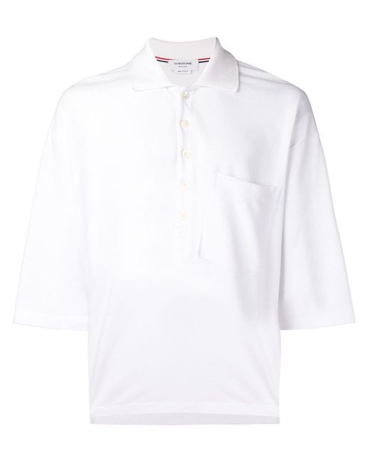 メンズ Thom Browne オーバーサイズ ピケ ポケットポロ White