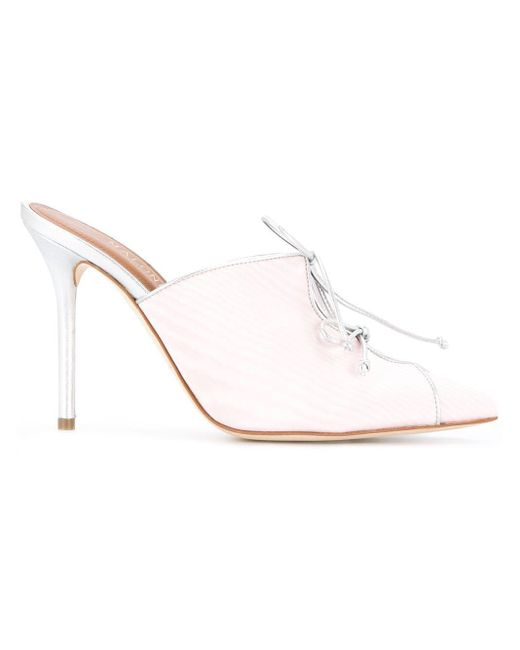 Malone Souliers レースアップ ミュール Pink