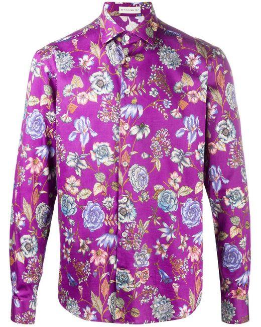Рубашка С Цветочным Принтом Etro для него, цвет: Purple