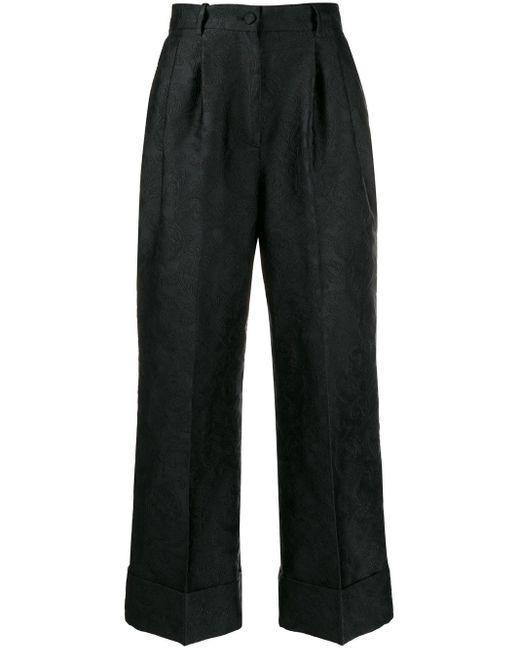 Dolce & Gabbana ジャガード クロップドパンツ Black