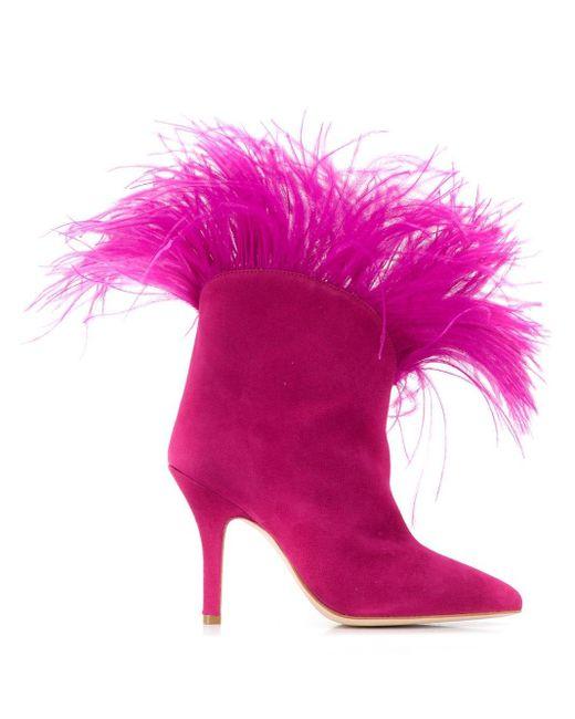 Paris Texas フェザートリム アンクルブーツ Pink