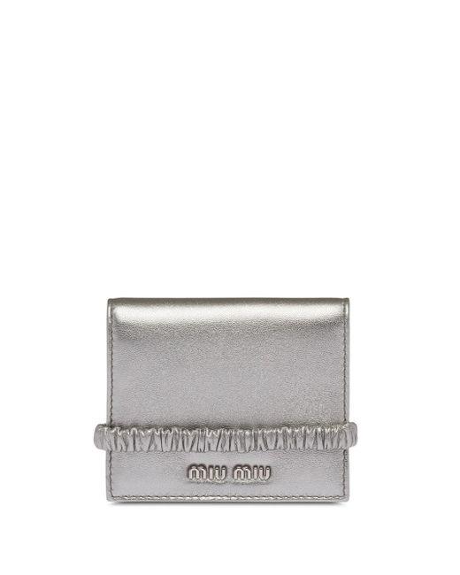 Miu Miu Metallic Foldover Wallet
