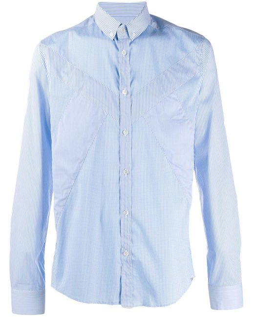 メンズ Les Hommes チェックパネル シャツ Blue