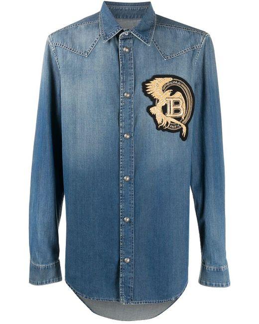 Джинсовая Рубашка С Нашивкой-логотипом Balmain для него, цвет: Blue