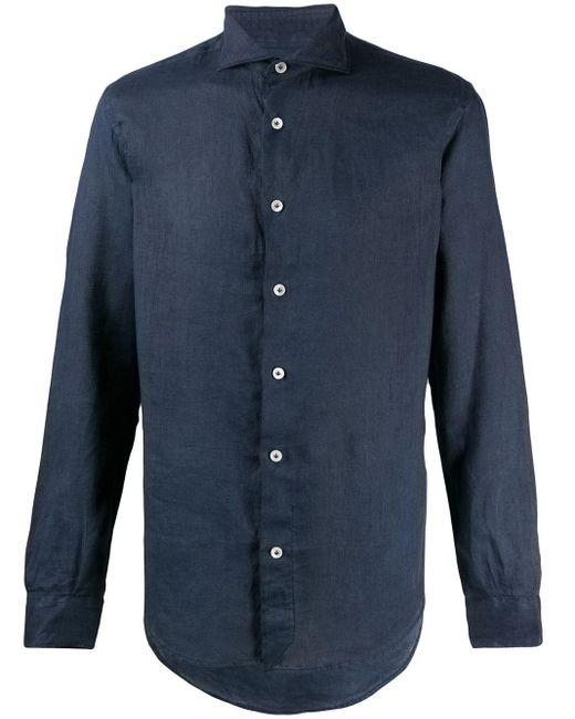 メンズ Eleventy スリムフィット リネンシャツ Blue