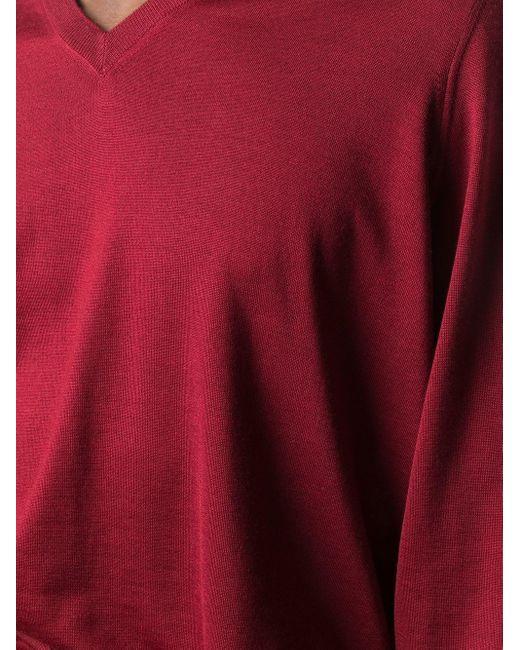 メンズ Brunello Cucinelli Vネック セーター Red