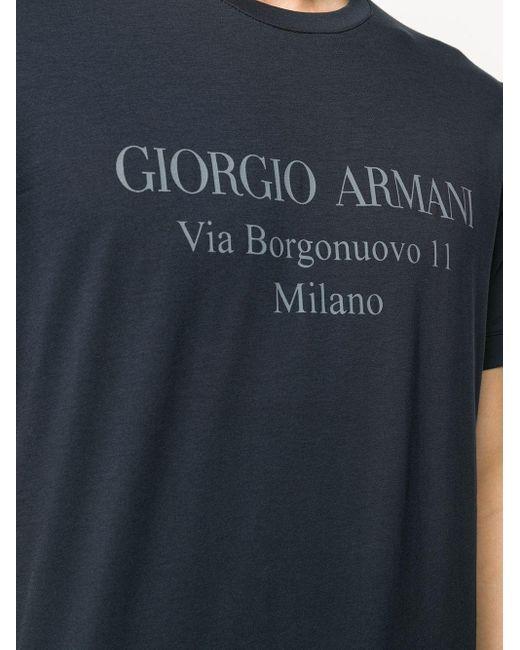 メンズ Giorgio Armani ロゴ Tシャツ Blue