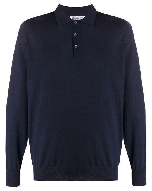 メンズ Brunello Cucinelli ロングスリーブ ポロシャツ Blue