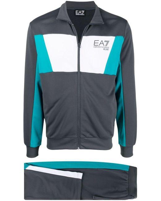メンズ EA7 ロゴ トラックスーツ Gray