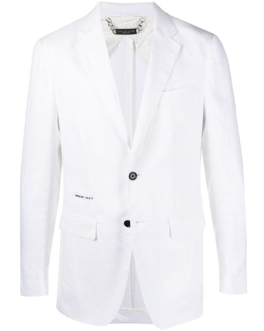 Philipp Plein White Iconic Regular Fit Blazer for men