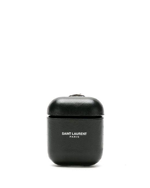 Чехол Для Airpods С Тисненым Логотипом Saint Laurent для него, цвет: Black