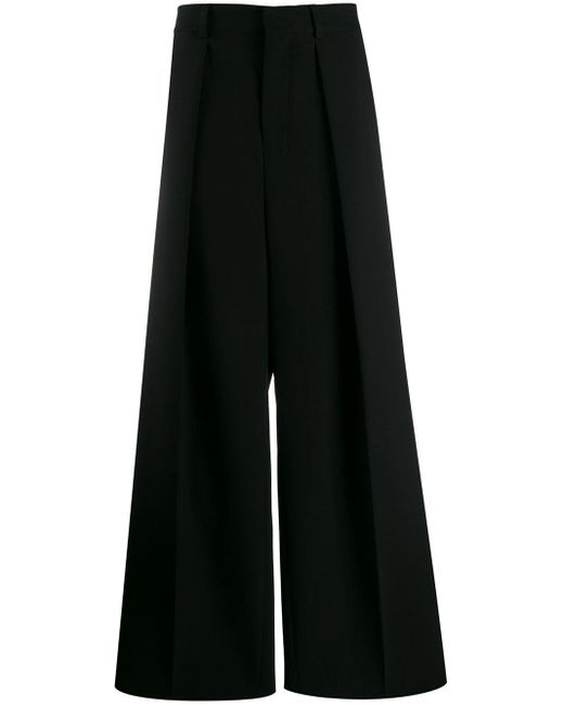 メンズ AMI プリーツ ワイドパンツ Black