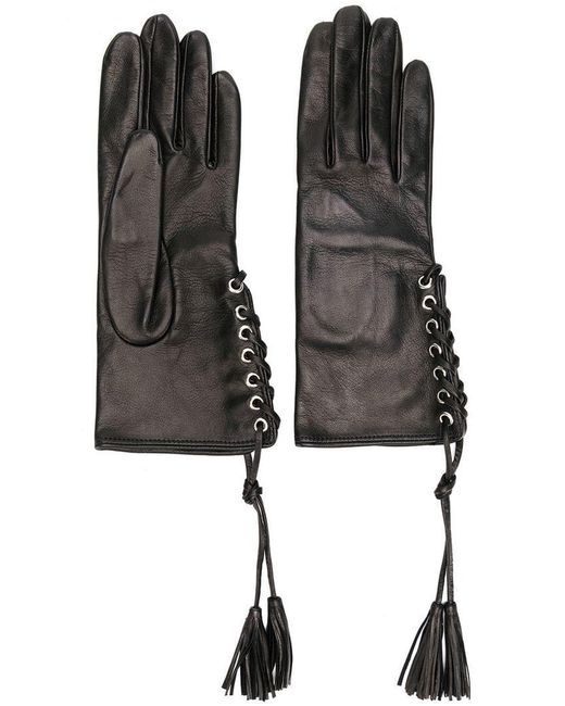 Manokhi - Black Lace-up Gloves - Lyst