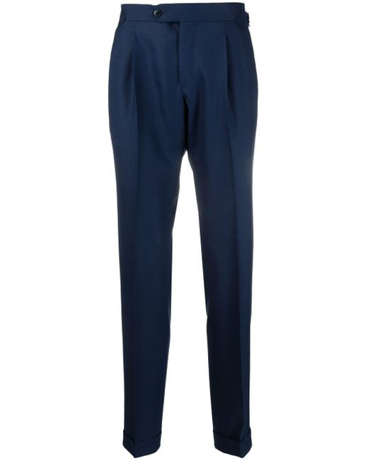 Luigi Bianchi Mantova Blue Pressed-crease Tailored Trousers for men