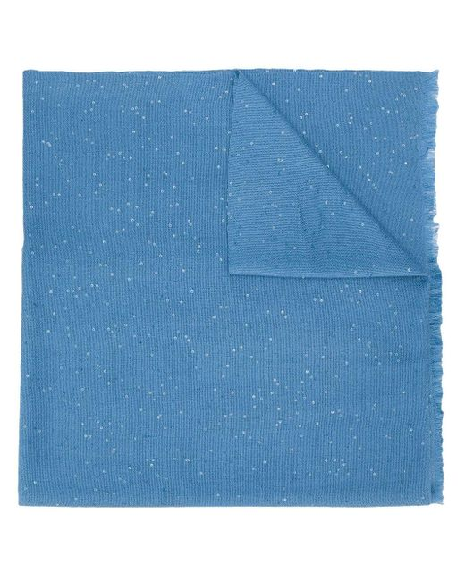 Brunello Cucinelli スパンコール スカーフ Blue