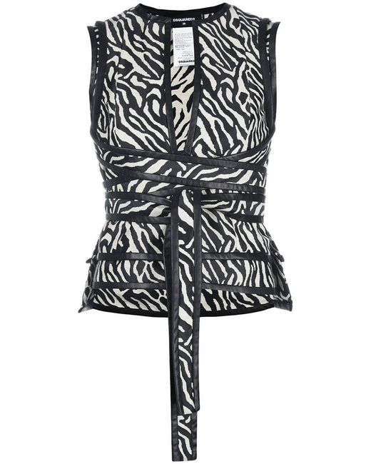 DSquared² - Black Zebra Print Wrap Top - Lyst