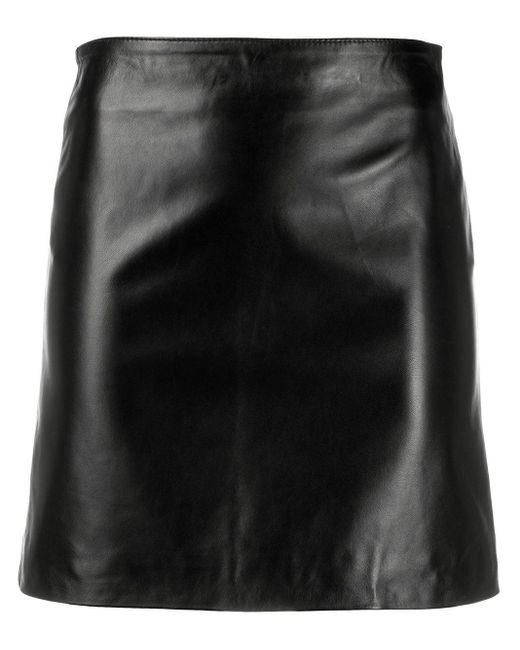 Manokhi レザーミニスカート Black