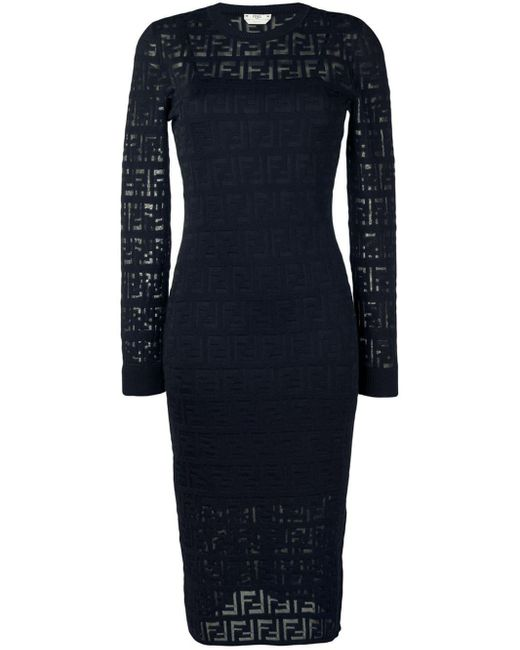 Fendi Blue Ff Motif Knitted Dress